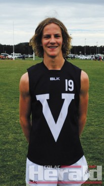 Colac junior footballer Cooper Stephens, pictured, earned selection in the V-Line Cup team of the carnival yesterday.
