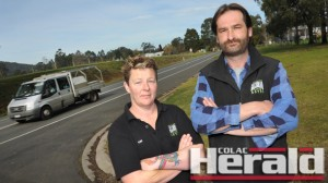 Gellibrand parents Kim Read and Frank Kovacs have concerns about the State Government's announcement of new and replacement school buses having seat belts.