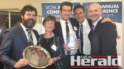 From left, the Colac Herald's David McKenzie, Mary Gannon,  Alex White, Nigel Hallett and Bruce Lawson accepted two journalism awards.