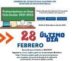 CONCLUYEN EL 28 DE FEBRERO PREINSCRIPCIONES EN LÍNEA A NIVEL BÁSICO EN BCS