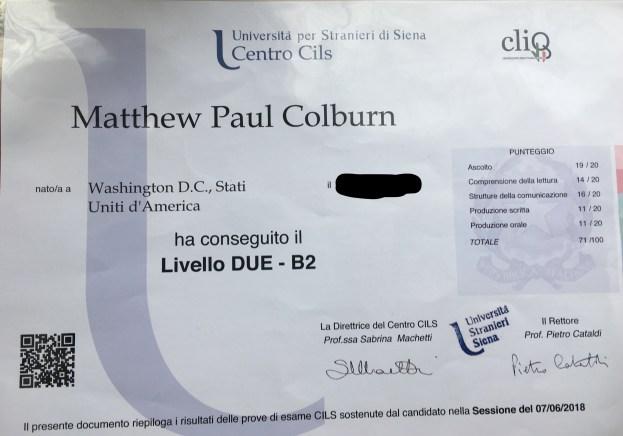 certificate Italian language
