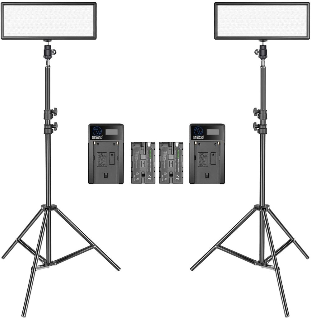 2 LED panels on tripods with batteries