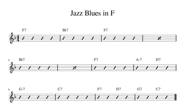 Jazz Blues In F jazz music theory free online music lesson colchester essex