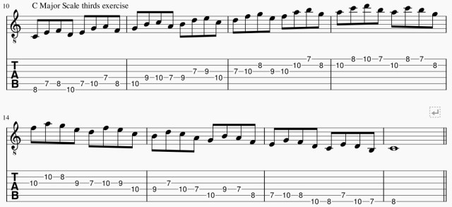 C Major Scale Guitar Lesson in 3rds