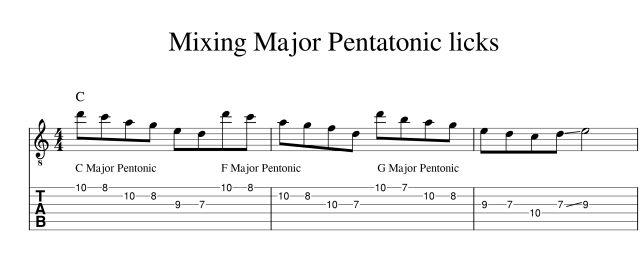Mixing major pentatonic scales lick 1