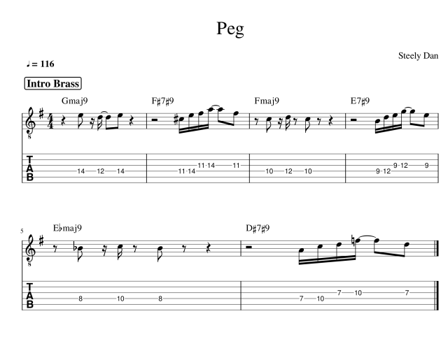 Peg  guitar tab steely dan brass intro