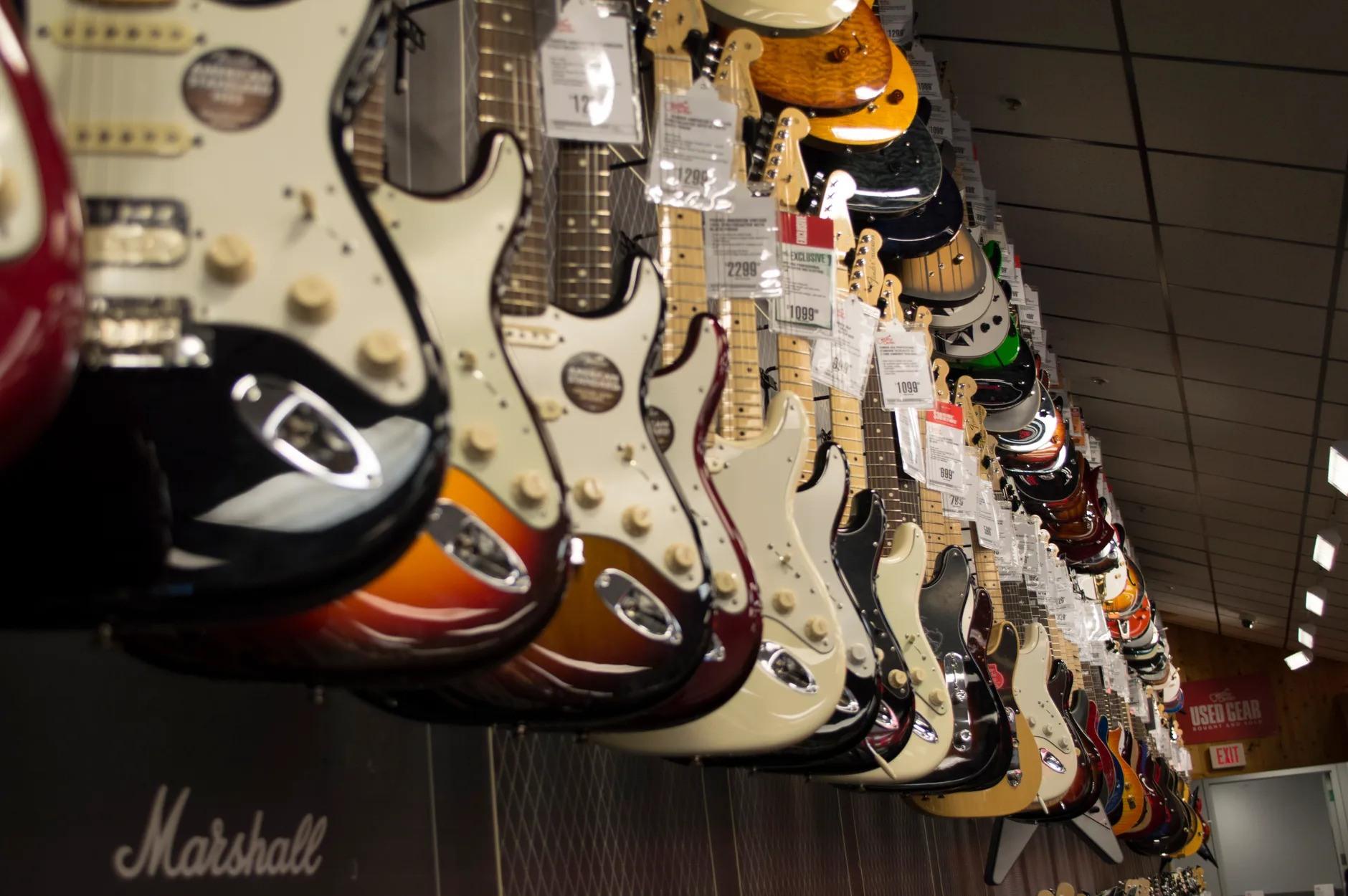 guitars hanging guitar store