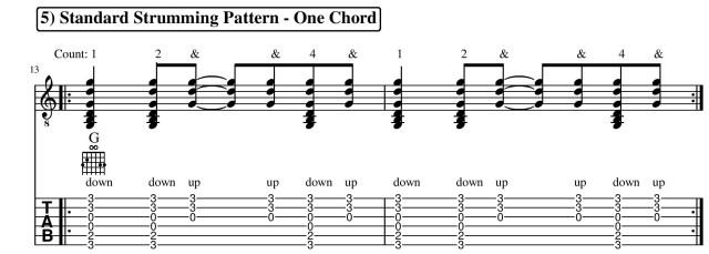 Standard strumming pattern guitar lesson