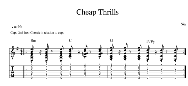 sia cheap thrills acoustic tab guitar lesson