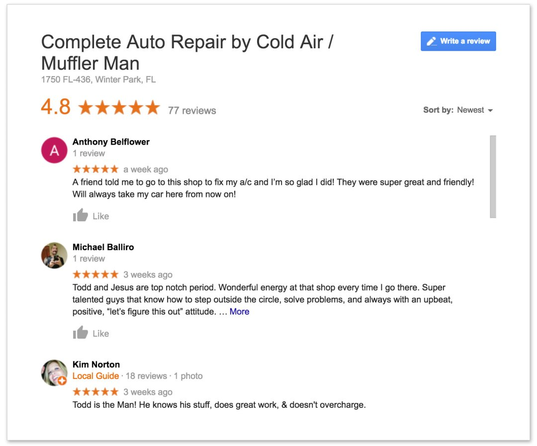 link to leave a google review for complete auto repair by cold air and muffler man