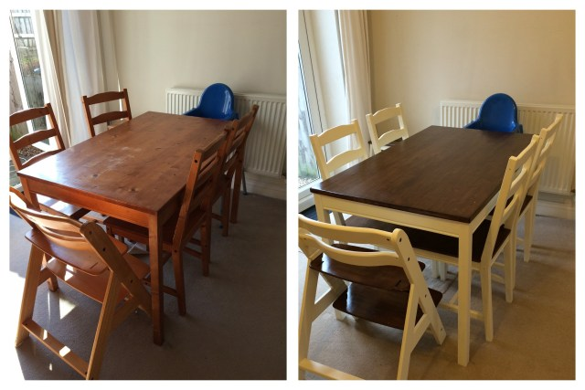 Before and After: Upcycled Jokkmokk Table, Chairs and Hauck Highchair