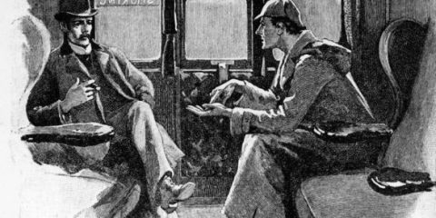 Holmes and Watson in Train, The Hound of the Baskervilles, Coombe Tracey, The Sign of Four, British Transportation