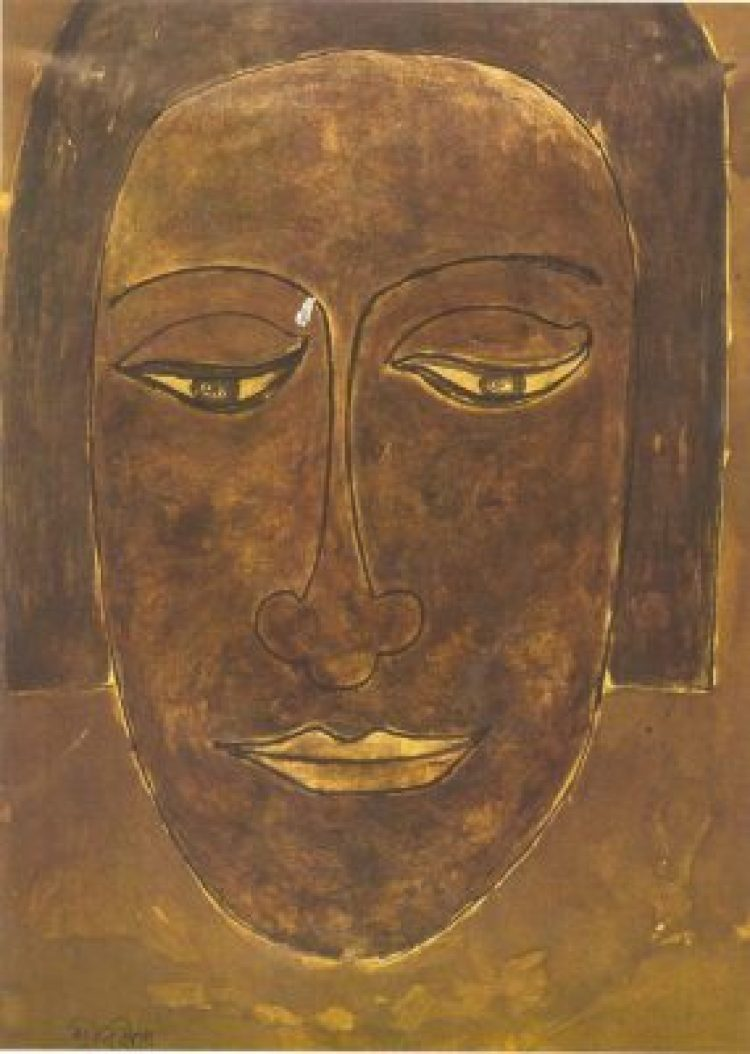 Rabindranath Tagore (1861-1941), Indian, Study in Face, 19.5x27 cm, National Gallery of Modern Art, New Delhi