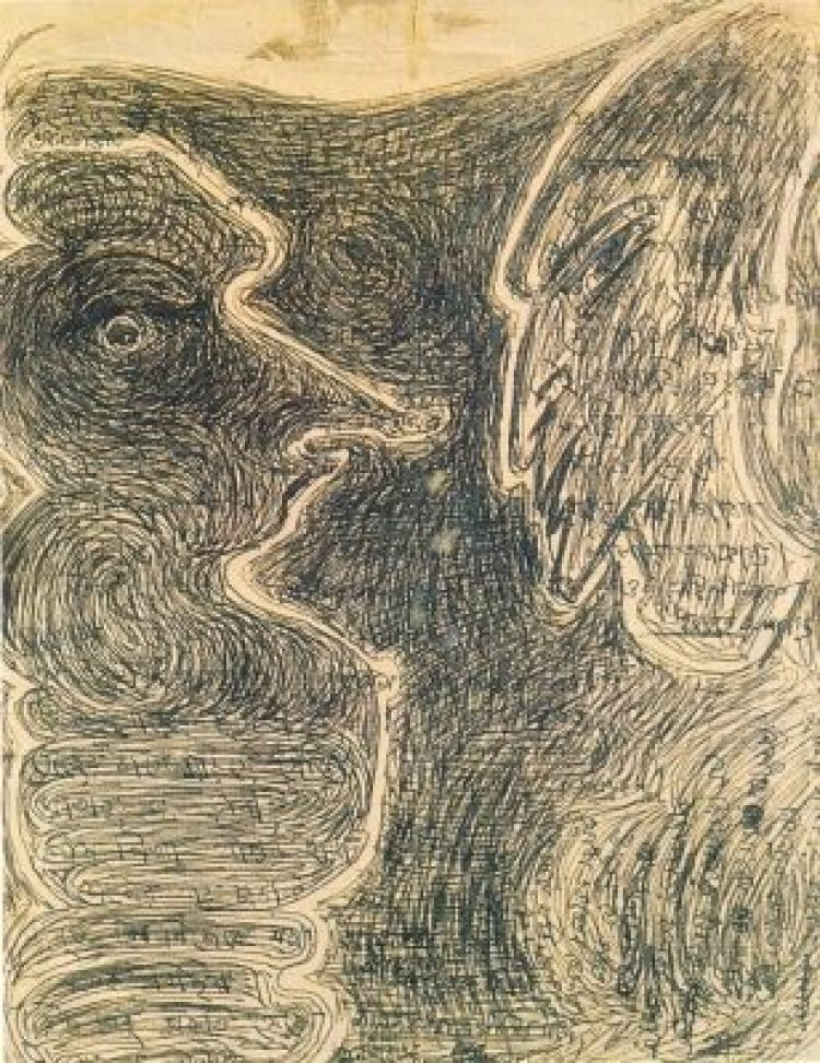 Rabindranath Tagore (1861-1941) - Two Figures, Pen and ink, 17.2 x 22 cms, (Acc. No. 1237) , National Gallery of Modern Art, New Delhi