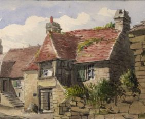 Walker F Lyon - Late 19th Century Watercolour, Houses at Domfront, Normandy