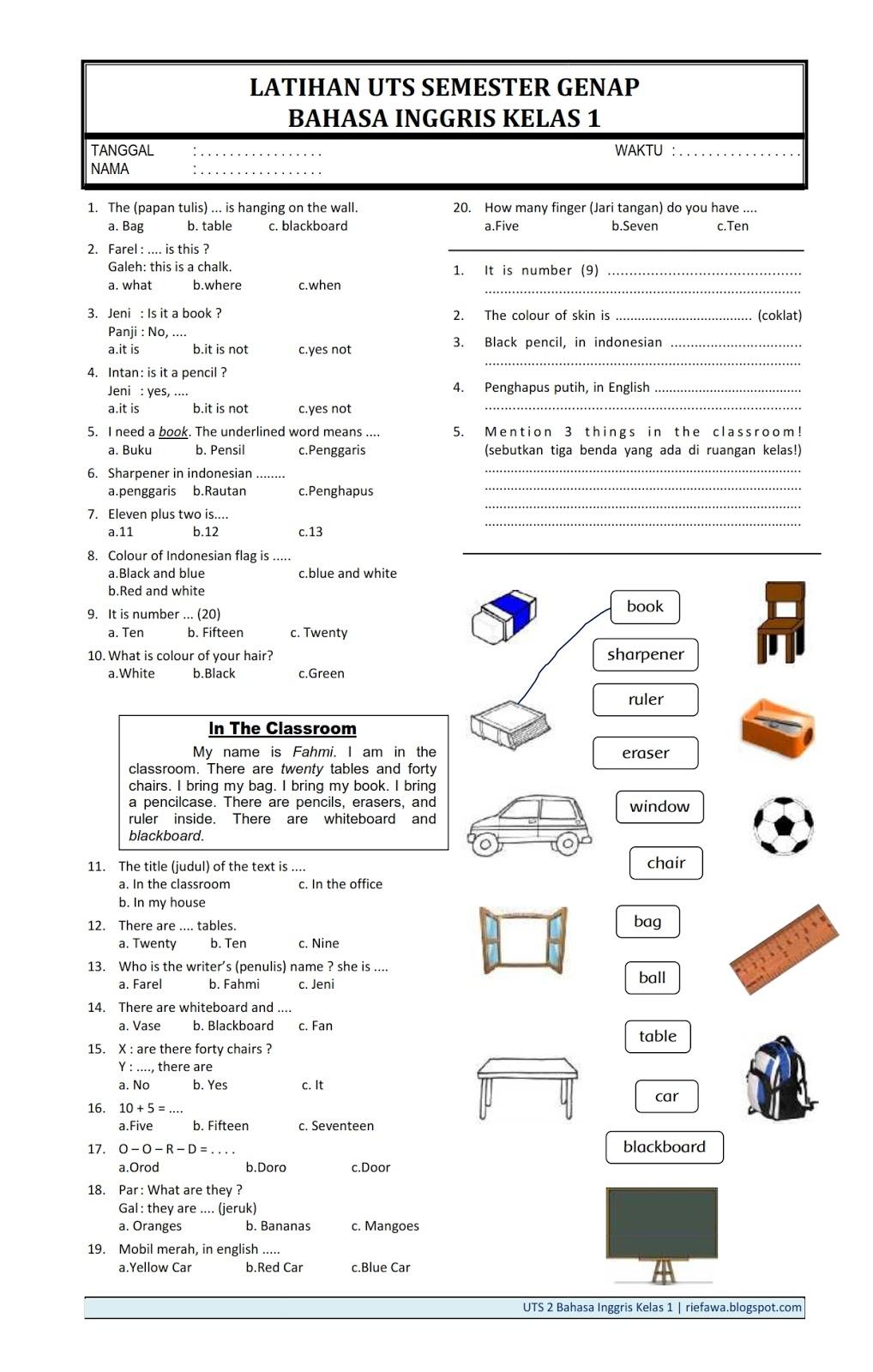 13/05/2020· soal uas matematika kelas 12 semester 1 pilihan ganda k13 +jawaban oleh anas ilham diposting pada mei 13, 2020. Contoh Soal Uts Bahasa Inggris Kelas 2 Sd Semester 2017