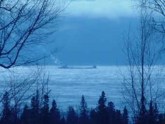 Freighter on Superior photographed from County 7 Home