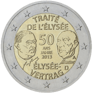 Moneda Conmemorativa de 2 Euros de Alemania 2013 - 50 Aniversario del Tratado del Elíseo