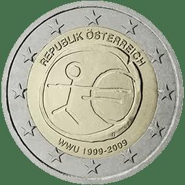 Moneda Conmemorativa de 2 Euros de Austria 2009 - Conmemorativa Común por el 10 Aniversario de la Unión Económica y Monetaria