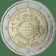Moneda Conmemorativa de 2 Euros de Austria 2012 - Conmemorativa Común por el 10 Aniversario de la Entrada en Circulación del Euro