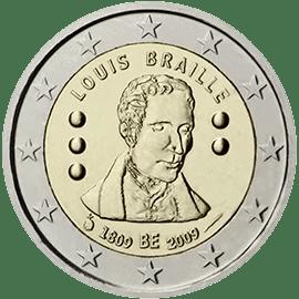 Moneda Conmemorativa de 2 Euros de Bélgica 2009 - 200 Aniversario del Nacimiento de Louis Braille