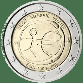 Moneda Conmemorativa de 2 Euros de Bélgica 2009 - Conmemorativa Común por el 10 Aniversario de la Unión Económica y Monetaria
