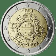 Moneda Conmemorativa de 2 Euros de Bélgica 2012 - Conmemorativa Común por el 10 Aniversario de la Entrada en Circulación del Euro