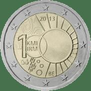 Moneda Conmemorativa de 2 Euros de Bélgica 2013 - Centenario del Real Instituto de Metereología de Bélgica