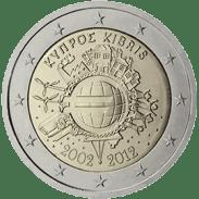 Moneda Conmemorativa de 2 Euros de Chipre 2012 - Conmemorativa Común por el 10 Aniversario de la Entrada en Circulación del Euro