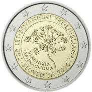 Moneda Conmemorativa de 2 Euros de Eslovenia 2010 - Bicentenario del Jardín Botánico de Liubliana