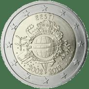 Moneda Conmemorativa de 2 Euros de Estonia 2012 - Conmemorativa Común por el 10 Aniversario de la Entrada en Circulación del Euro