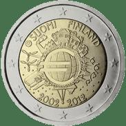 Moneda Conmemorativa de 2 Euros de Finlandia 2012 - Conmemorativa Común por el 10 Aniversario de la Entrada en Circulación del Euro