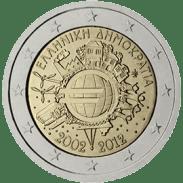 Moneda Conmemorativa de 2 Euros de Grecia 2012 - Conmemorativa Común por el 10 Aniversario de la Entrada en Circulación del Euro