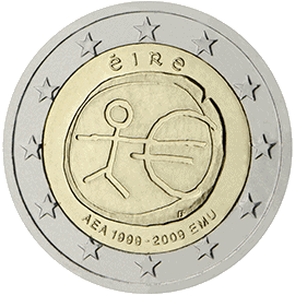 Moneda Conmemorativa de 2 Euros de Irlanda 2009 - Conmemorativa Común por el 10 Aniversario de la Unión Económica y Monetaria