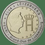 Moneda Conmemorativa de 2 Euros de Luxemburgo 2004 - Efigie y Monograma del Gran Duque Henri