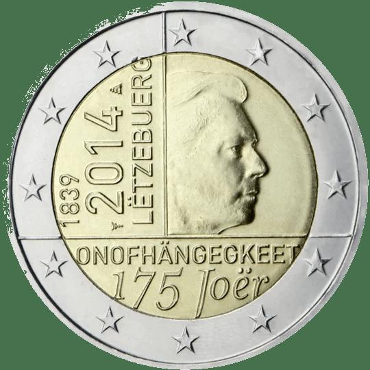 Moneda Conmemorativa de 2 Euros de Luxemburgo 2014 - 175 Años de la Independencia de Luxemburgo
