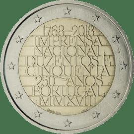 Moneda Conmemorativa de 2 Euros de Portugal 2018 - 250 Aniversario de la Imprensa Nacional