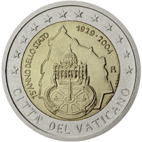 Moneda Conmemorativa de 2 Euros del Vaticano 2004 - 75 Años de la Fundación del Estado del Vaticano