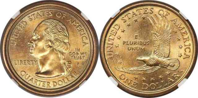 1 dólar/25 centavos, moneda híbrida