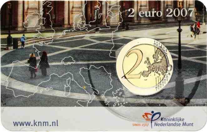 Coincard Holanda 2007 2 Euros Conmemorativos Tratado de Roma