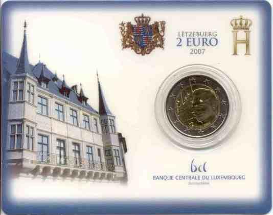 Coincard Luxemburgo 2007 2 Euros Conmemorativos Palacio Gran Ducal