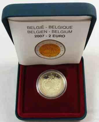 Estuche Individual Proof Bélgica 2007 2 Euros Conmemorativos Tratado de Roma