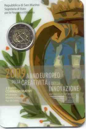 Cartera San Marino 2009 2 Euros Conmemorativos Año Europeo Creatividad e Innovación
