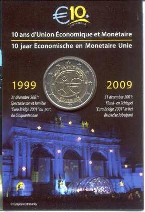 Coincard Bélgica 2009 2 Euros Conmemorativos 10 Años de la UEM