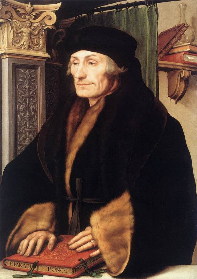 Retrato de Erasmo de Rotterdam por Holbein