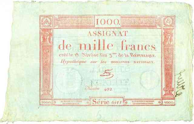 Assignat del 18 de Nivoso del Año 3 en francos