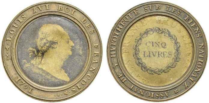 Moneda Assignat 5 livres