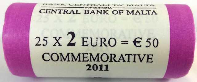 Rollo Malta 2011 2 Euros Conmemorativos Primera Elección de Representantes