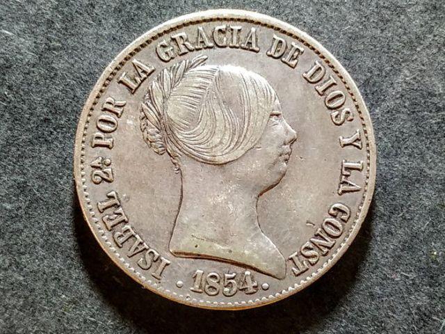 10 Reales 1864 Sevilla Isabel II Anverso