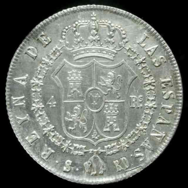 4 reales 1839 Sevilla Isabel II Reverso
